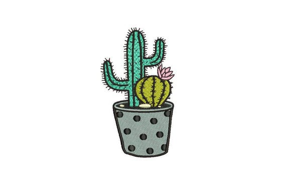 Kawaii Cactus Pair Machine Embroidery File design 4 x 4 inch hoop Makes a great Patch
