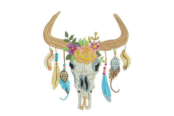 Machine Embroidery Boho Gypsy Skull With Feathers Bohemian Machine Embroidery File 8x12 hoop