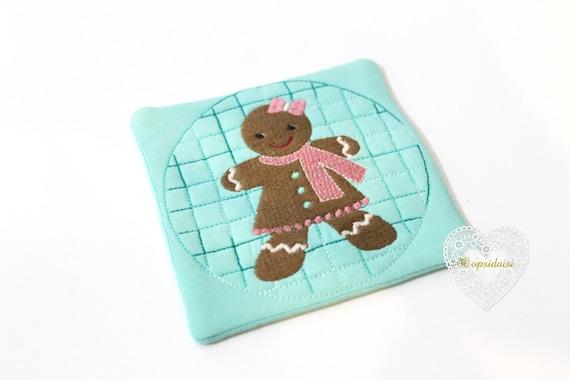 Gingerbread Girl Coaster Mug Rug Christmas ITH Machine Embroidery File design 5x7 inch hoop