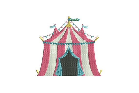 Circus Tent Big Top Machine Embroidery File design 6x10 inch or 16x26cm hoop