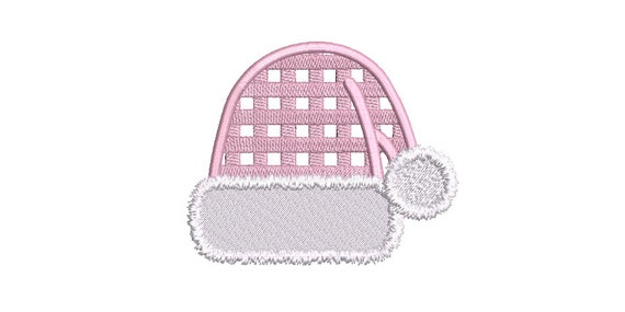 Christmas Machine Embroidery Design - Gingham Santa Hat - 5 x 7 inch hoop - instant download