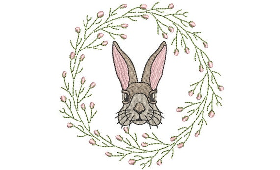 Vintage Bunny Rabbit Wreath  - Machine Embroidery File design 5 x 7 inch hoop - Easter Embroidery Design