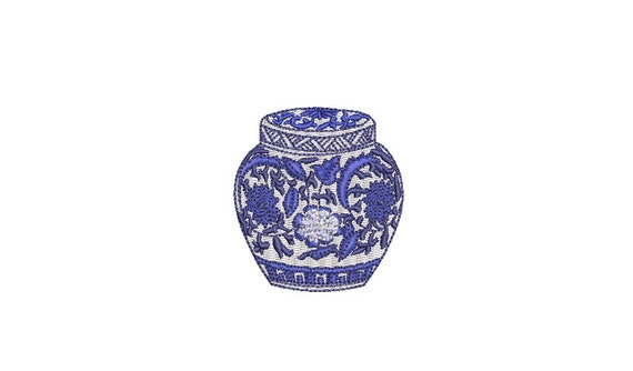Mini Ginger Jar - Chinoiserie Chic Jar  - 6cm - Filled Machine Embroidery File design - 4x4 hoop - monogram embroidery
