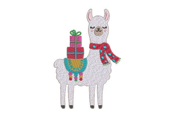Llama Xmas Presents - Machine Embroidery File design 5x7 inch hoop - Christmas Embroidery Design