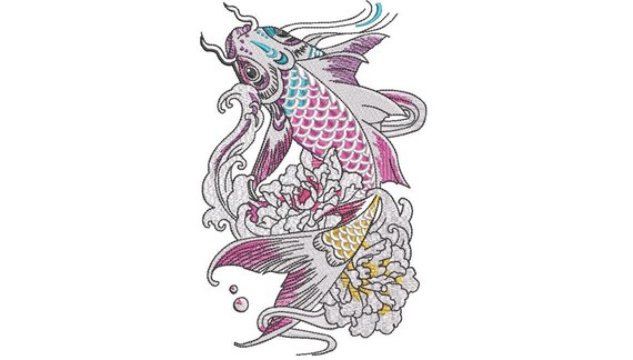 Rainbow Koi Fish Machine Embroidery File design -  5x7 hoop - Watercolour embroidery design