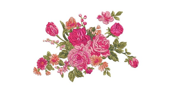 Pink Floral Embroidery -  Rose Machine Embroidery File design - 5x7 inch hoop - instant download