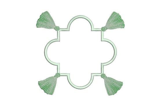 Art Deco Monogram Tassel Frame - Machine Embroidery File design -  8x8 inch hoop