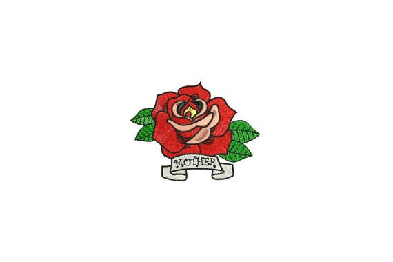 Retro Mother Rose Tattoo Machine Embroidery File design 4 x 4 inch hoop