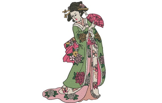 Geisha  -  Machine Embroidery File design - 6x10 inch hoop - Japanese embroidery design
