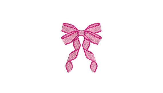 Pink Ribbon Bow Machine Embroidery File design - 4 x 4 inch hoop - Monogram Design - Bow embroidery Design