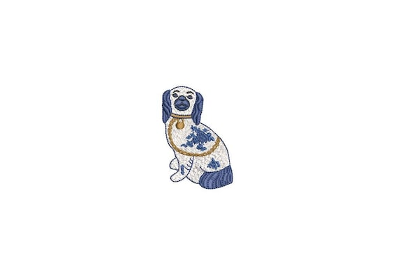 Chinoiserie Chic Blue Willow Spaniel Dog Petite Embroidery - Machine Embroidery File design  - 4x4 hoop - Mini embroidery 7cm