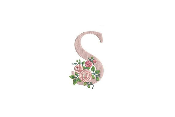 Letter S Monogram with Roses Machine Embroidery File design 4x4 inch hoop