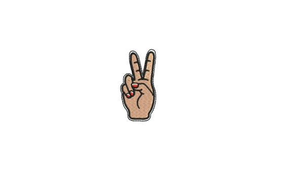Peace Hand Mini Urban Modern Machine Embroidery File design 4x4 inch hoop - 6cm