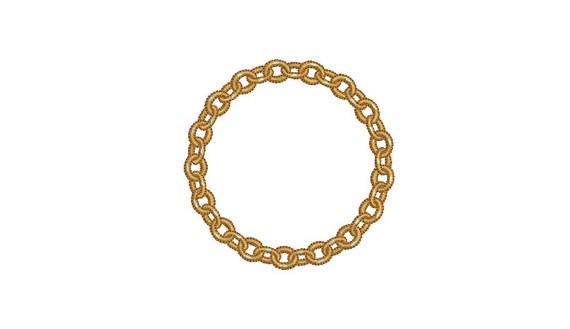 Gold Chain Circle Monogram Frame -  Machine Embroidery File design -  4x4 hoop - Round Border Frame