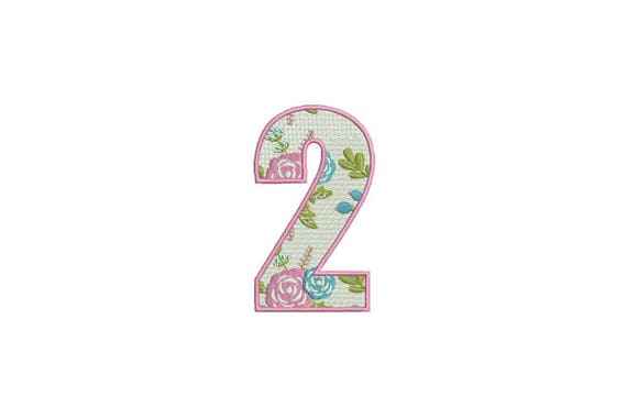 Number 2 - TWO - Floral - Second Birthday-  Machine Embroidery File design - 4x4 hoop - embroidery design - instant download