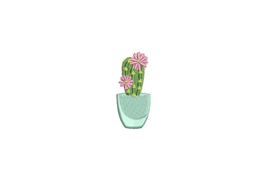 Kawaii Cactus Mini 6cm Machine Embroidery File design 4 x 4 inch hoop Makes a great Patch