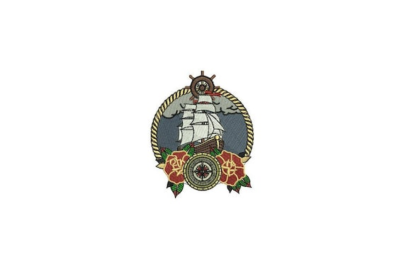 Rose & Boat Ship Tattoo Retro Machine Embroidery File design 4 x 4 inch hoop