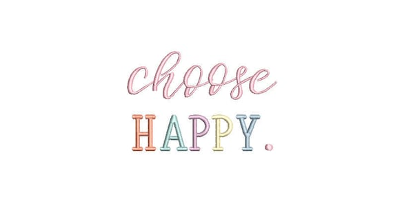 Choose Happy Machine Embroidery File design  - 4 x 4 inch hoop - 10cm hoop - Rainbow Embroidery Design