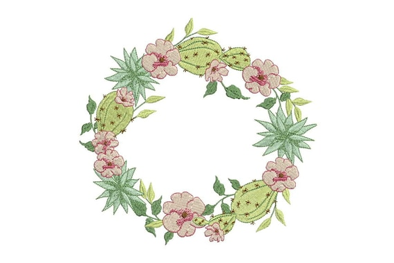 Wreath Embroidery - Machine Embroidery Boho Cactus Flower Wreath Machine Embroidery File design 7x12 inch or 18x30cm hoop