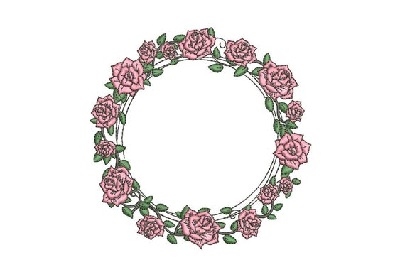 Pink Rose Wreath Machine Embroidery File design 5x7 inch hoop