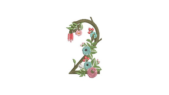 Flower Number 2 - TWO - Second Birthday-  Machine Embroidery File design - 4x4 hoop - embroidery design