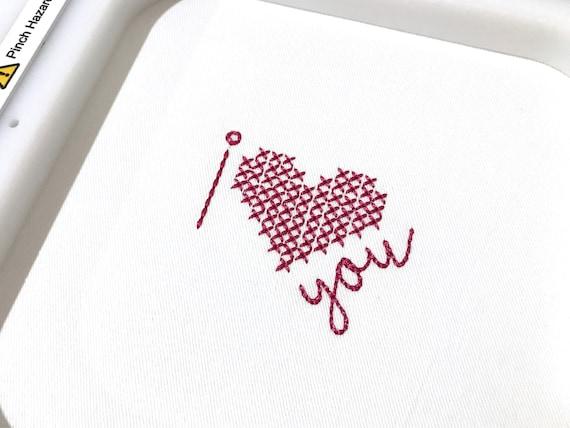 I heart you cross stitch Machine Embroidery File design 4 x 4 inch hoop i love you