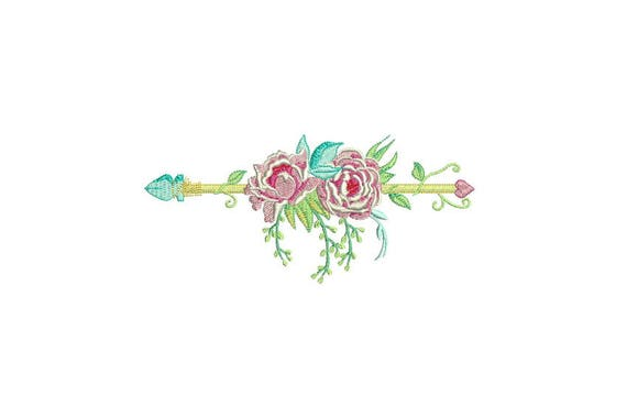 Boho Peony Flower Arrow Machine Embroidery File design 6x10 inch hoop