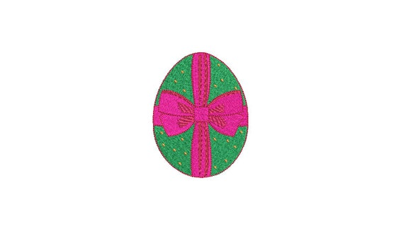 Easter Egg With Bow Machine Embroidery File design - 4 x 4 inch hoop - instant download