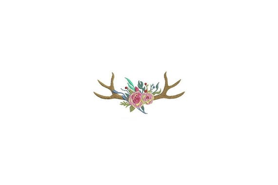 Boho Rose Stag Antlers Bohemian Machine Embroidery File design 4x4 inch hoop Flower Antlers