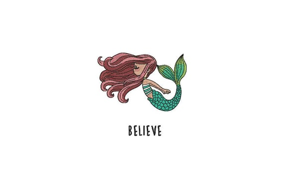 Mermaid Embroidery Design - Whimsical Believe Mermaid Machine Embroidery File design 4x4 inch hoop