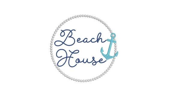 Machine Embroidery Beach House Logo Monogram Anchor Machine Embroidery File design 4x4 inch hoop