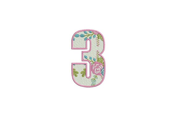 Number 3 - THREE - Floral - Third Birthday-  Machine Embroidery File design - 4x4 hoop - embroidery design - Instant download