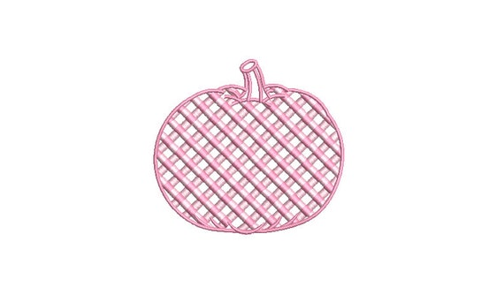 Chinoiserie Chic - Pink Gingham Pumpkin - Machine Embroidery design - 4x4 inch hoop - instant download