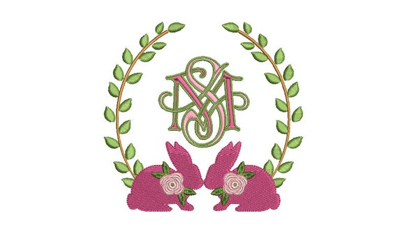 Machine Embroidery Pink Laurel bunny - Monogram Frame -Embroidery File design - 5x7 inch hoop
