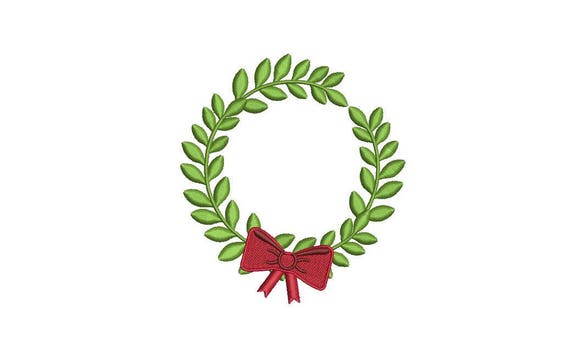 Christmas Bow Wreath Embroidery - Machine Embroidery File - design 4x4 inch hoop - Monogram frame