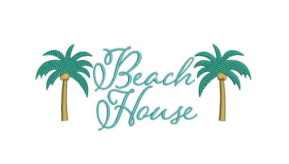 Beach House Palms Machine Embroidery File design 5x7 inch hoop - Monogram Frame