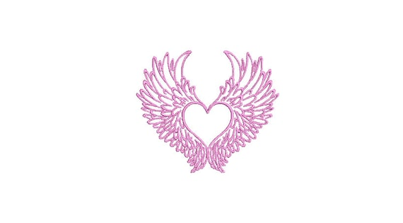 Wings Heart - Machine Embroidery File design  - 4 x 4 inch hoop - instant download - Monogram Frame