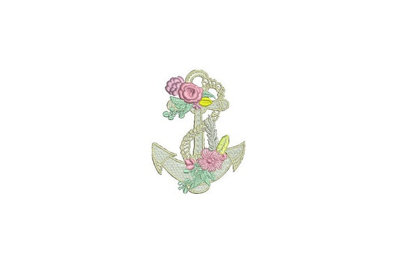 Machine Embroidery Whimsical Floral Anchor Machine Embroidery File design 4x4 inch hoop