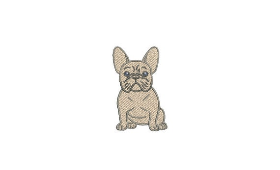 Blue Frenchie Machine Embroidery File design - 3x3 inch hoop - French Bulldog Embroidery - Mini Machine embroidery