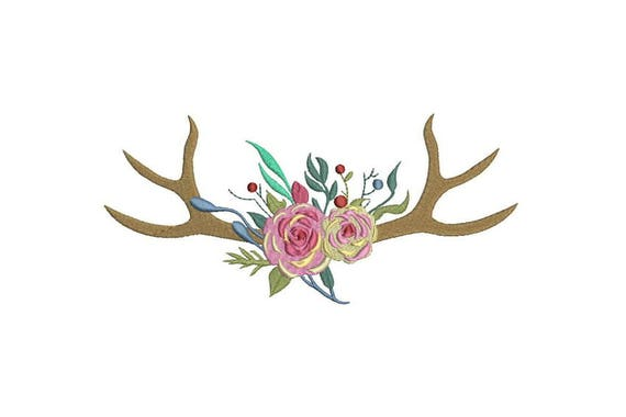 Boho Rose Antlers Boho Machine Embroidery File design 8x12 inch hoop Flower Antlers
