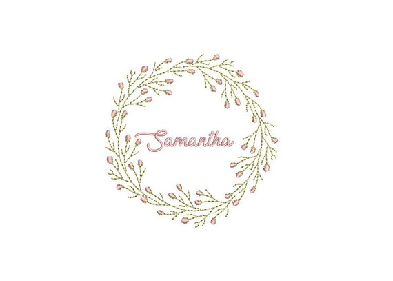 Tiny Bud Wreath- Machine Embroidery File design - 4x4 inch hoop - monogram Frame - Instant download