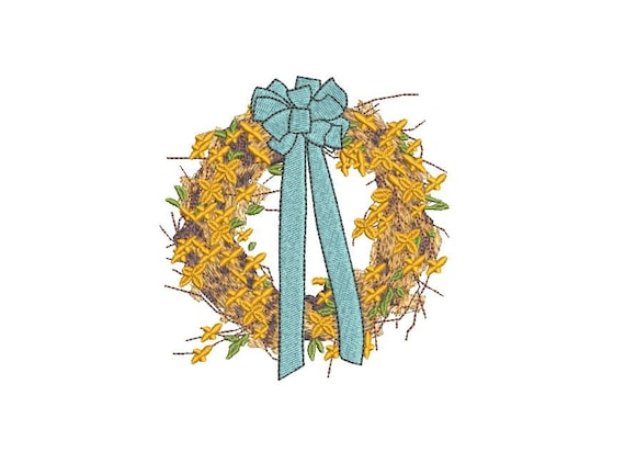 Spring Wreath Embroidery - Hamptons Design - Machine Embroidery File design - 4 x 4 inch hoop - Instant Download