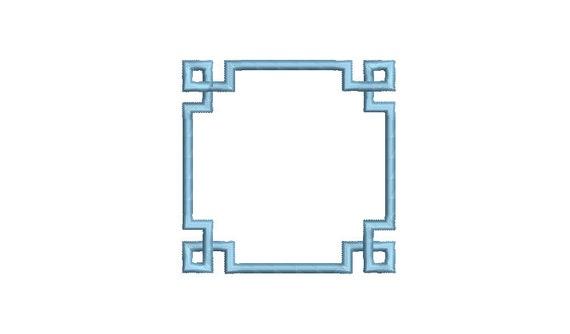 Greek Key Monogram Frame -  Machine Embroidery File design -  4x4 hoop - Square Border Frame