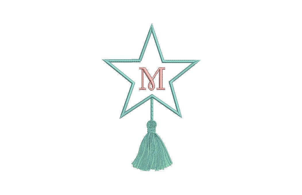 Star Tassel Monogram Embroidery Frame Christmas Machine Embroidery File Design 5 X 7 Inch Hoop Instant Download