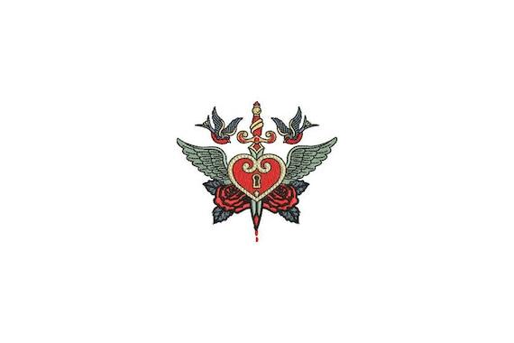 Sword Heart Tattoo Retro Machine Embroidery File design 4 x 4 inch hoop