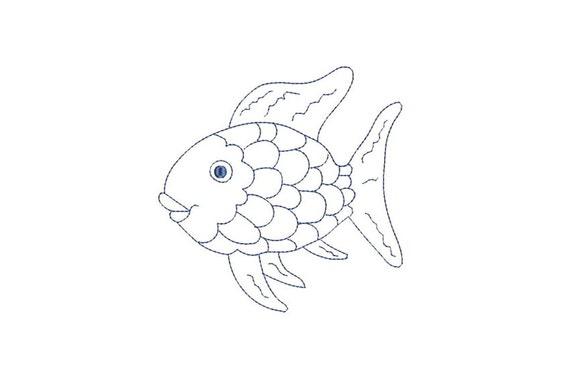 Rainbow Fish Outline Redwork Machine Embroidery File design 5x7 hoop