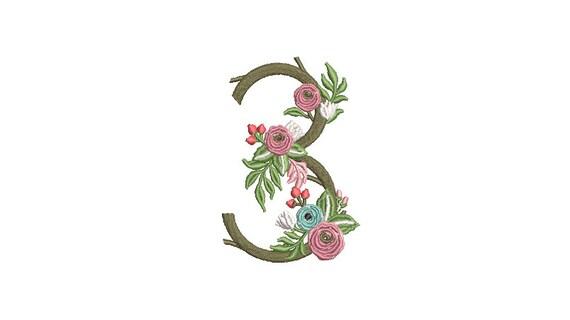 Flower Number 3 - THREE - Third Birthday-  Machine Embroidery File design - 4x4 hoop - embroidery design
