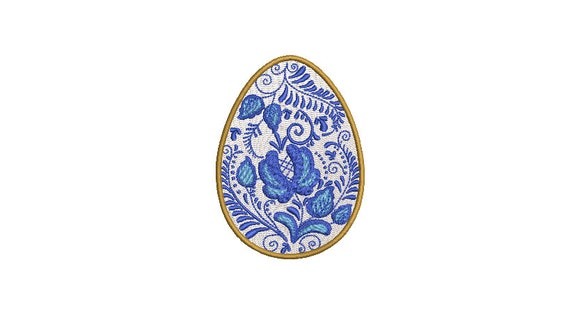 Delft Blue Easter Egg Machine Embroidery File design - 4 x 4 inch hoop - instant download