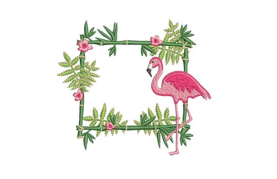 Flamingo Bamboo Monogram Frame -Machine Embroidery File design - 5x7 hoop - instant download