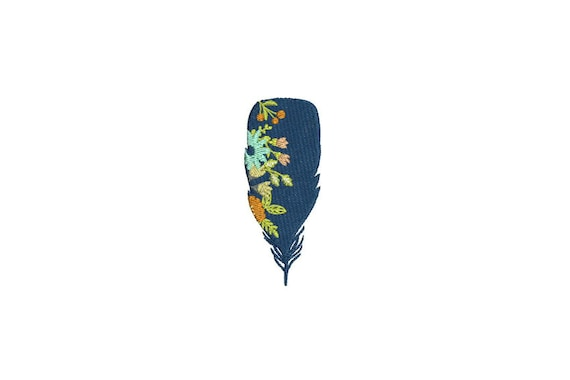 Machine Embroidery Whimsical Floral Boho Feather Machine Embroidery File design 4 x 4 inch hoop